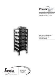 RESERVE POWER Manuel d'installation, d ... - Enersys - EMEA