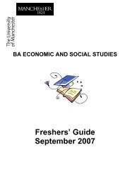Freshers' Guide September 2007 - School of Social Sciences - The ...