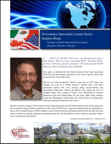 Governance Innovation Lecture Series: Stephen Blank - Faculty of ...