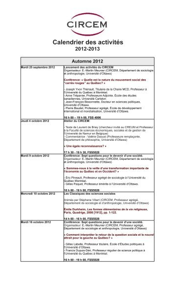 circem calendrier - Faculty of Social Sciences - Université d'Ottawa