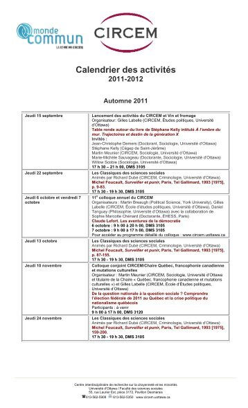 Calendrier des activités - Faculty of Social Sciences - Université d ...