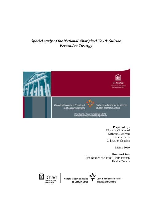 Special Study Of The National Aboriginal Youth Suicide Prevention