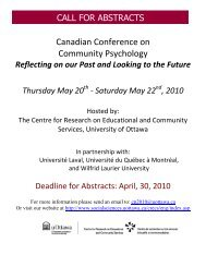 Canadian Conference on Community Psychology - Faculty of Social ...