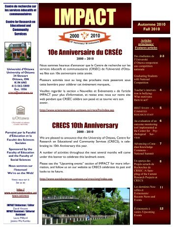 10e Anniversaire du CRSÉC CRECS 10th Anniversary - Faculty of ...