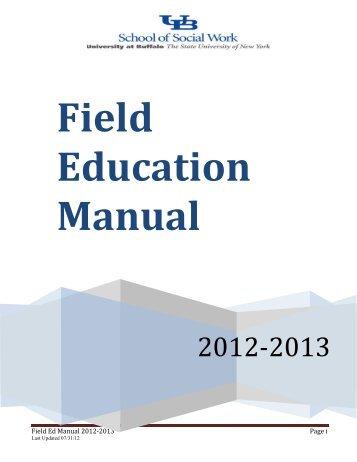 Field Education Manual 2012-2013 - UB School of Social Work ...