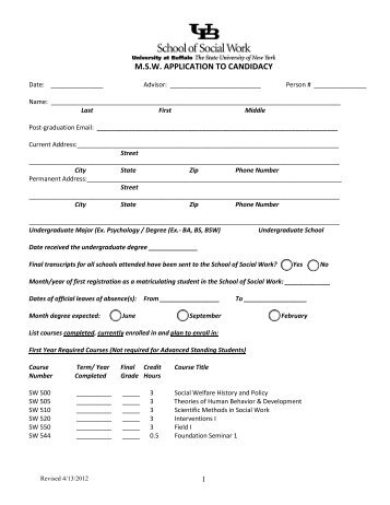 MSW Application to Candidacy - UB School of Social Work
