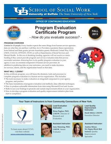 Program Evaluation Certificate Program - UB School of Social Work ...