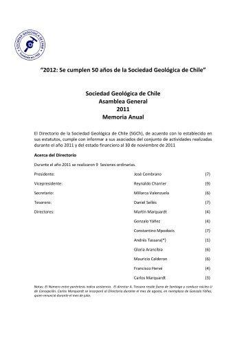 Momoria Anual y Estado Financiero - Sociedad Geológica de Chile