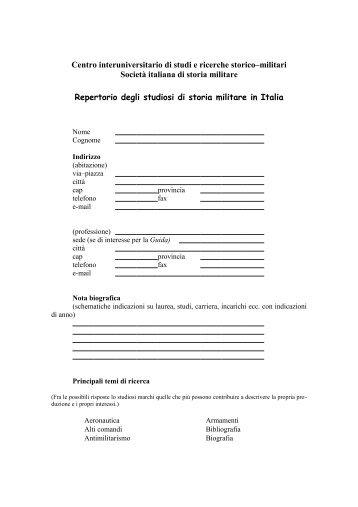 scheda di adesione - Societa italiana di storia militare