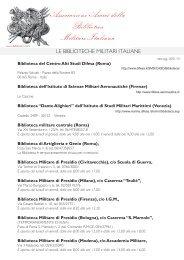 le biblioteche militari italiane - Societa italiana di storia militare