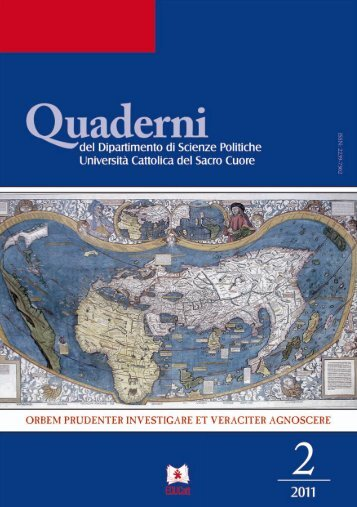 AA.VV., Quaderni del Dipartimento di Scienze Politiche, 2 ... - EDUCatt