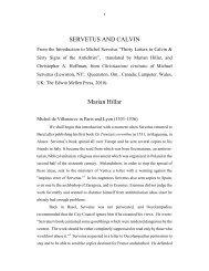 Servetus and Calvin - Socinian Studies Forum
