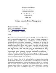Critical Issues in Prison Management - Department of Sociology ...