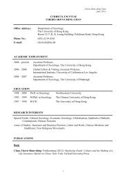 Curriculum Vitae - Department of Sociology - The University of Hong ...