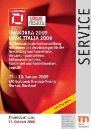 Technische Richtlinien - Upakovka/Upak Italia - Messe Düsseldorf