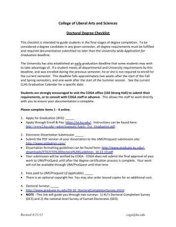 KU COGA- PhD Degree Check List - Department of Sociology ...