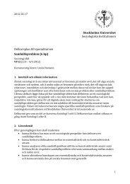 6 hp - Sociologiska institutionen - Stockholms universitet