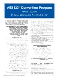 AES 132nd Convention Program  April 26 – 29, 2012 Budapest ...