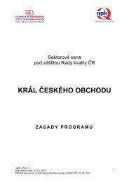KČO 2013 Zasady programu - Svaz obchodu a cestovního ruchu ČR