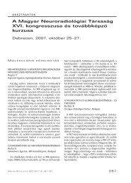 A Magyar Neuroradiológiai Társaság XVI. kongresszusa és ...