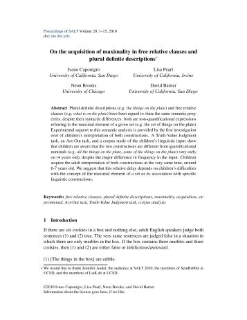 On the acquisition of maximality in free relative clauses and plural ...