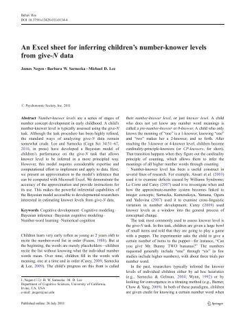 An Excel sheet for inferring children's number-knower levels from ...