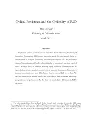 Cyclical Persistence and the Cyclicality of R&D - University of ...