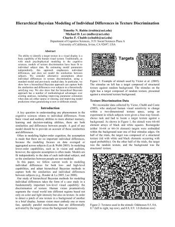 Hierarchical Bayesian Modeling of Individual Differences in Texture ...