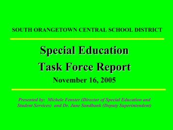 Special Education Task Force Presentation, Nov - South ...