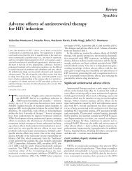 Adverse effects of antiretroviral therapy for HIV infection