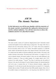 AM 36 The Atomic Nucleus In this laboratory you will become ...