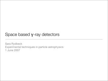 Space based γ-ray detectors - Particle and Astroparticle Physics