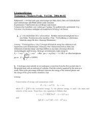 Lösningsförslag: Tentamen i Modern Fysik, 5A1246, 2006-06-02