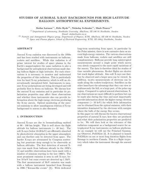 studies of auroral x-ray backgrounds for high - KTH Particle and ...