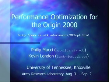 MPP Performance Optimization - Innovative Computing Laboratory