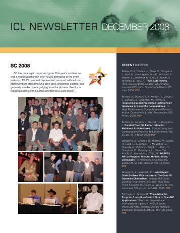 icl newsletter december 2008 - Innovative Computing Laboratory