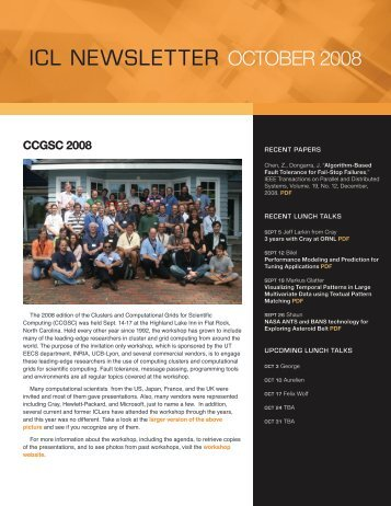 ICL NEWSLETTER OctOber 2008 - Innovative Computing Laboratory