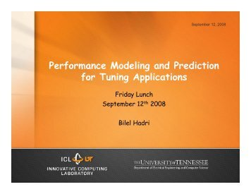 Performance Modeling and Prediction for Tuning Applications