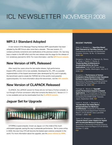 icl newsletter november 2008 - Innovative Computing Laboratory