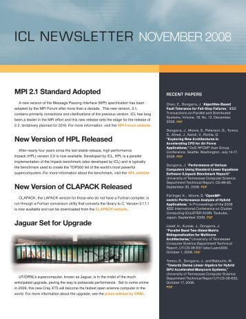 icl newsletter november 2008 - Innovative Computing Laboratory