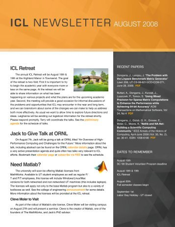 ICL Newsletter August 2008