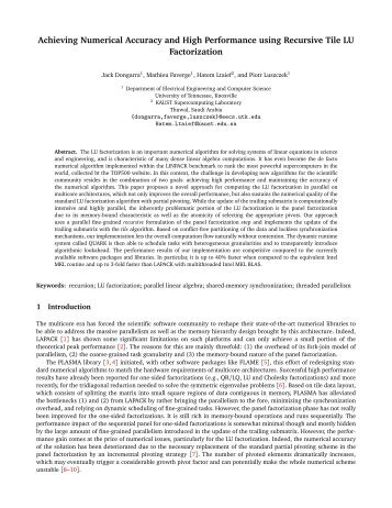 Achieving Numerical Accuracy and High Performance using ... - Netlib