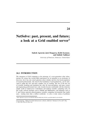 NetSolve: past, present, and future; a look at a Grid ... - The Netlib