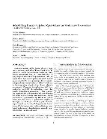 Scheduling Linear Algebra Operations on Multicore ... - Netlib
