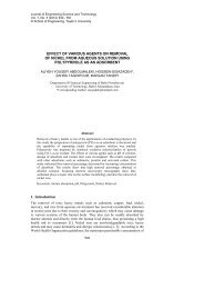 Effect of various agents on removal of nickel from aqueous solution ...