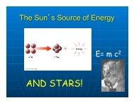 The Sun's Source of Energy. Stars