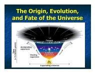 The Origin, Evolution, and Fate of the Universe - UMass Astronomy ...