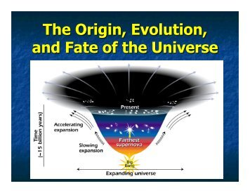 The Origin, Evolution, and Fate of the Universe - UMass Astronomy ...