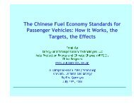 The Chinese Fuel Economy Standards for Passenger Vehicles: How ...