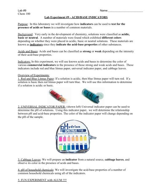 Chem 100 Lab Experiment #9 - ACID/BASE INDICATORS Purpose